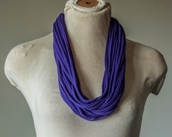 Recycled T-Shirt Necklace Purple