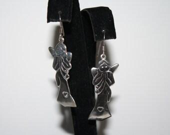 Vintage Sterling Silver Angel earrings | Pierced Dangle