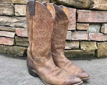 Vintage JUSTIN Brown Rugged Leather Vtg Cowboy Western Boots 2252 Men's Size 10 D