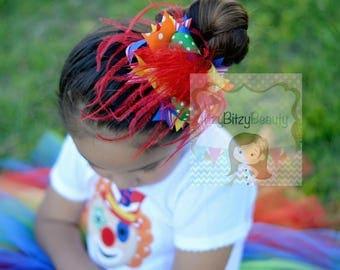 OTT Feather Rainbow Hair Bow Headband Circus Layered