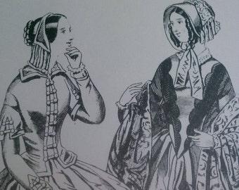Ladies Fashions 1840s Set of 4 Reproduction Prints Victorian Dresses.