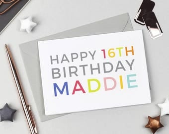 Personalised Happy 16th Birthday Card