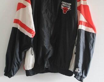 90's Vintage Jordan Era Starter Official NBA Chicago Bulls Embroidered WIndbreaker Jacket