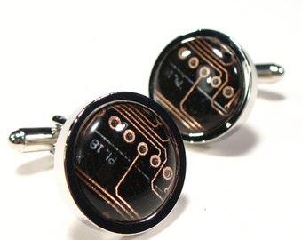 Circuit Board Cufflinks, Black Cufflinks, Copper Cufflinks, Men's Gift, Computer Chip, Electronic, Accessory, Eco, Recycled, Motherboard.