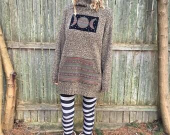 Upcycled Sweater, Triple Goddess, Upcycled Clothing, Eco Friendly Clothing, Moon Clothing, Plus Size, Size 2X