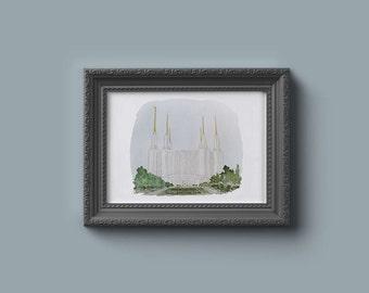 Washington DC LDS Temple Watercolor Print