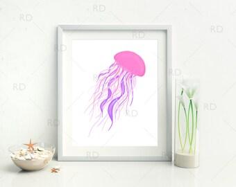 Jellyfish with Pinks and Purples - PRINTABLE Wall Art / Hand Drawn Jellyfish Printable / Wall Art / Ocean Art / Nautical / Underwater Life