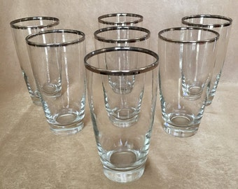 Silver Rim Tumblers, Libbey Platinum Band, Tall Drinking Glass, 50's Barware, Silver Band, Bar Cart, Highball Glass, Retro Bar, Platinum Rim