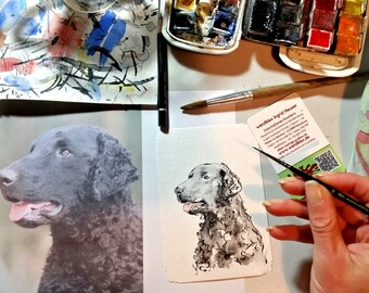 hand painted map after dog after template, watercolor greeting card, portrait photo portrait photo template, unique postcard artist card unique