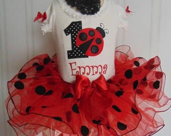 Ladybug Birthday Onesie/Tutu and Matching Hair Bow- Cute Ladybug Outfit- Three Piece outfit-Age 6 months to 4 toddler