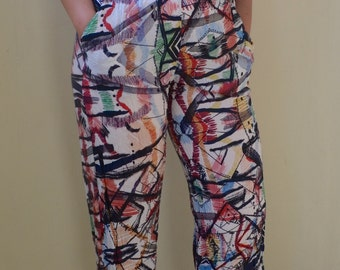 Abstract print, 80s cotton, elastic waist pants- loungey, S/M