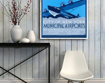 WPA New York City Municipal Airports poster reprint  - 3 color choices & 4 XL sizes up 36x48