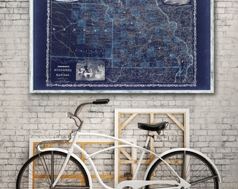 "1862 Johnson's Missouri and Eastern Kansas, Vintage map reprint -4 large/XL sizes up to 54 x x36"" -in 3 three colors"
