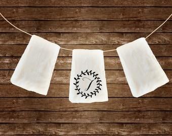 Custom Initial flour sack dish towel gift