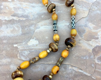 Beaded ethnic tribal necklace with African ceramic feature bead