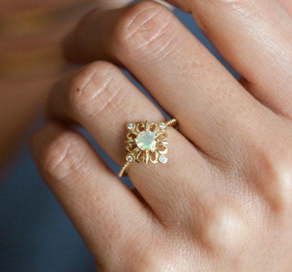 Opal Engagement Rings: Vintage Opal Ring Ethiopian Opal Ring Opal Engagement Ring