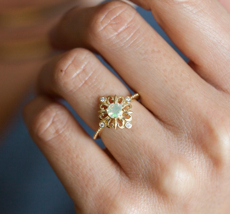 vintage opal ring ethiopian opal ring opal engagement ring. Black Bedroom Furniture Sets. Home Design Ideas