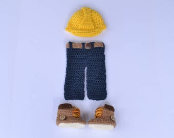 Handmade crochet baby construction worker set; baby boy; helmet; pants; belt; baby booties; timberlands; photography prop; baby shower gift