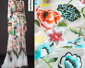 Heavy embroidery fashion couture lace fabric, floral pattern, sheer, good drape, sew for top, shirt, dress, skirt, sewing,craft by the yard