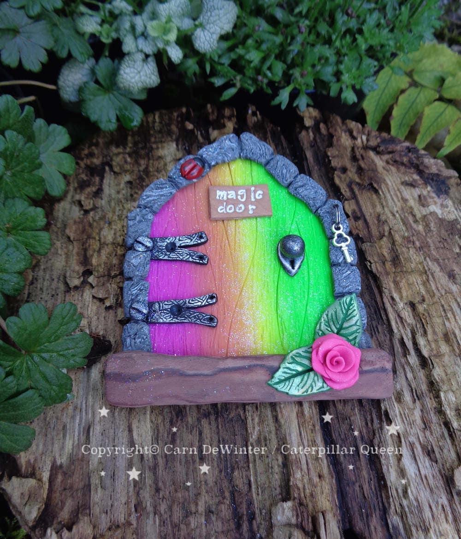 Fairy elf door with ladybird silver key rainbow fairies for Rainbow fairy door