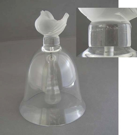 Vintage Lalique Crystal Bell With Frosted Song Bird