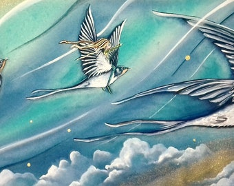 Swallows Return' Signed print on A3 of my original gouache painting