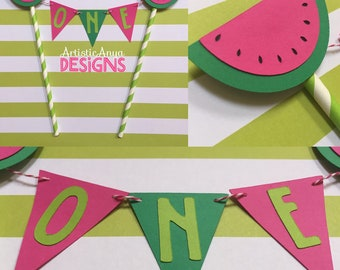 Watermelon Cake Bunting Topper - Smash Cake - Tutti Fruitti Birthday Party or Watermelon Baby Shower -  Pink Green Red - Cake Banner