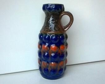 Bay Keramik, Handled Vase, Blue, Orange, Earthtone, Nr 65 20, West German Pottery, 1970s