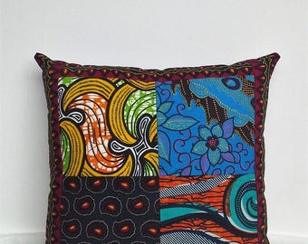 Patchwork Cushion African Print Fabric Decorative Pillow Handmade African Home Decor Ankara Wax Fabric Scatter Cushion