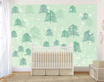 Nature, Forest Wall Mural, Peel And Stick, Temporary, Trees Wallpaper,  Watercolor
