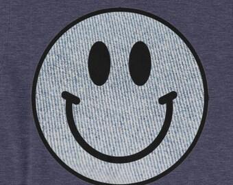Acid House T-shirt Smiley Face Denim