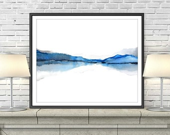 Abstract Blue Wall Art Watercolor Print, Modern Landscape Mountain Art, Bright Watercolor Painting Art Print, Water Color,Colorful Art 8x10+
