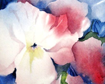 Cottage Chic Wall Art Print Abstract, Delphinium Watercolor Painting,Blue Red Modern Flower Wall Decor, Watercolor Floral Artwork, Botanical
