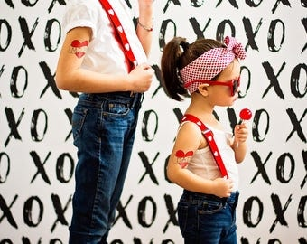 mom and dad temporary tattoos mothers day gift fathers day gift cute fake tattoos for kids set of large red heart tattoos photoshoot prop