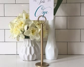Champagne Gold Table Number Holder - Gold Menu Holder - Gold Table Number Stands - Champagne Gold Wedding - Gold Wedding