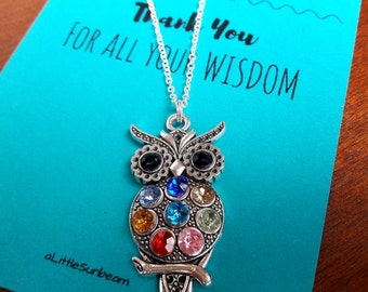 Teacher thank you gift owl necklace wisdom bohemian crystal charm necklace