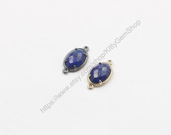 12*16mm Faceted Lapis Lazuli Connectors -- With Electroplated Gold Edge Charms Wholesale Supplies YHA-294-19
