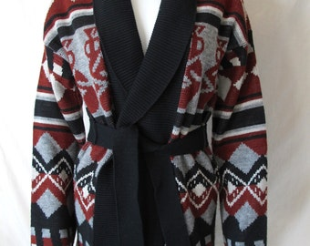 Vintage 70s Aztec Cardigan Sweater with Belt - Esprit by Campus