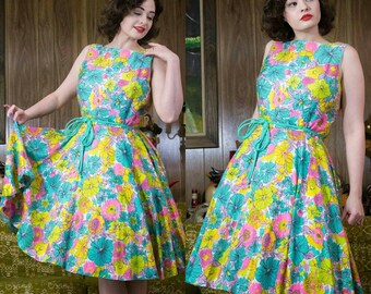 1960s Floral Dress | 60s Dress | Circle Skirt | Tropical Dress | Fit & Flare | 60s Day Dress | 60s Cotton Dress | Neon | Floral Dress | 30""