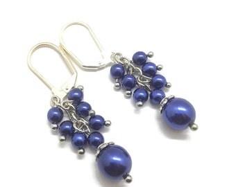 Blue Cluster Earrings, Pearl Cluster Earrings, Cluster Earrings, Blue Pearl Earrings, Blue Pearl Jewelry, Navy Blue Earrings, Pearl Earrings