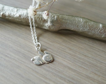 Sterling Silver, Bunny Necklace, Bunny Rabbit, Baby Bunny, Tiny Animal Necklace, Spring Jewelry, Easter Jewelry, Rabbit Necklace, Hare
