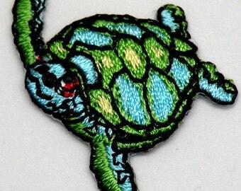 Small Sea Turtle Ocean, Wildlife, transfer, applique, iron on patch, water turtle by Cedar Creek Patch Shop