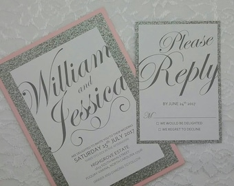 Blush Pink and Silver Wedding Invitation