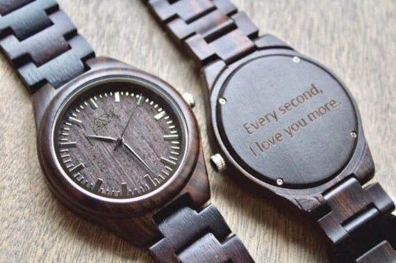 Mens wood watch engraved mens watch wooden watch wood watch for Watches engraved