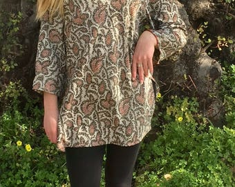 Silk Tunic,Hippie Tunic,Summer Dress,Vintage Tunic,Boho Tunic,Ethnic Tunic,Tunic Dress,Tunic Tops,Womens Tunic,Sari Tunic,Elven Clothing