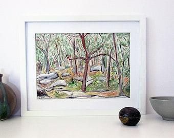 Original Australian Landscape Drawing, Modern Art, Oil Pastel Drawing, Gum Trees, Natural, Horizontal A4 Unframed, Christmas  Gift for Him