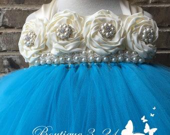 Turquoise Flower Girl Dress, Turquoise Tutu Dress, Turquoise Tulle Dress, Turquoise Dress, Turquoise Wedding, Turquoise, Ivory Flower Girl