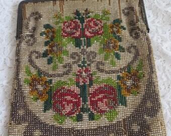 Rare Antique German beaded rose decorated purse with signature bead