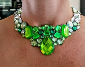 Springtime - rhinestone bling necklace, illusion necklace, rhinestone bib, floating necklace, rhinestone statement necklace