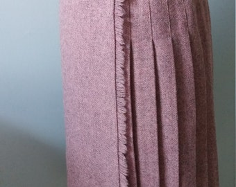 "Vintage 80s Wool Kilt Wrap Skirt - Size S /M  Rose Pink Woven Wool Tweed Long Pleated Wrap Skirt  Waist 24 - 26"" "" (61 - 67cm ) UK Made"